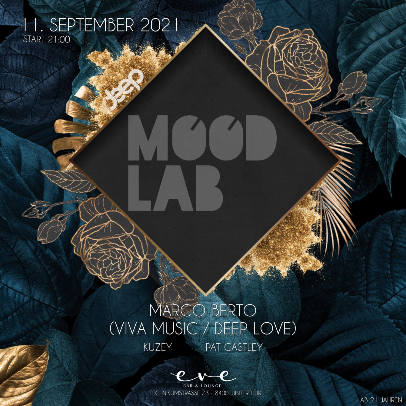 Mood Lab. at Eve Lounge Winterthur - Marco Berto - Flyer front