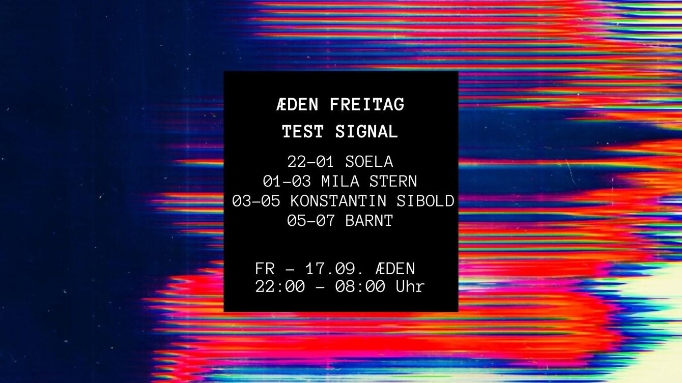 Æ Freitag x Test Signal: (Indoor) Konstantin Sibold, Barnt, Mila Stern & Soela - Flyer front