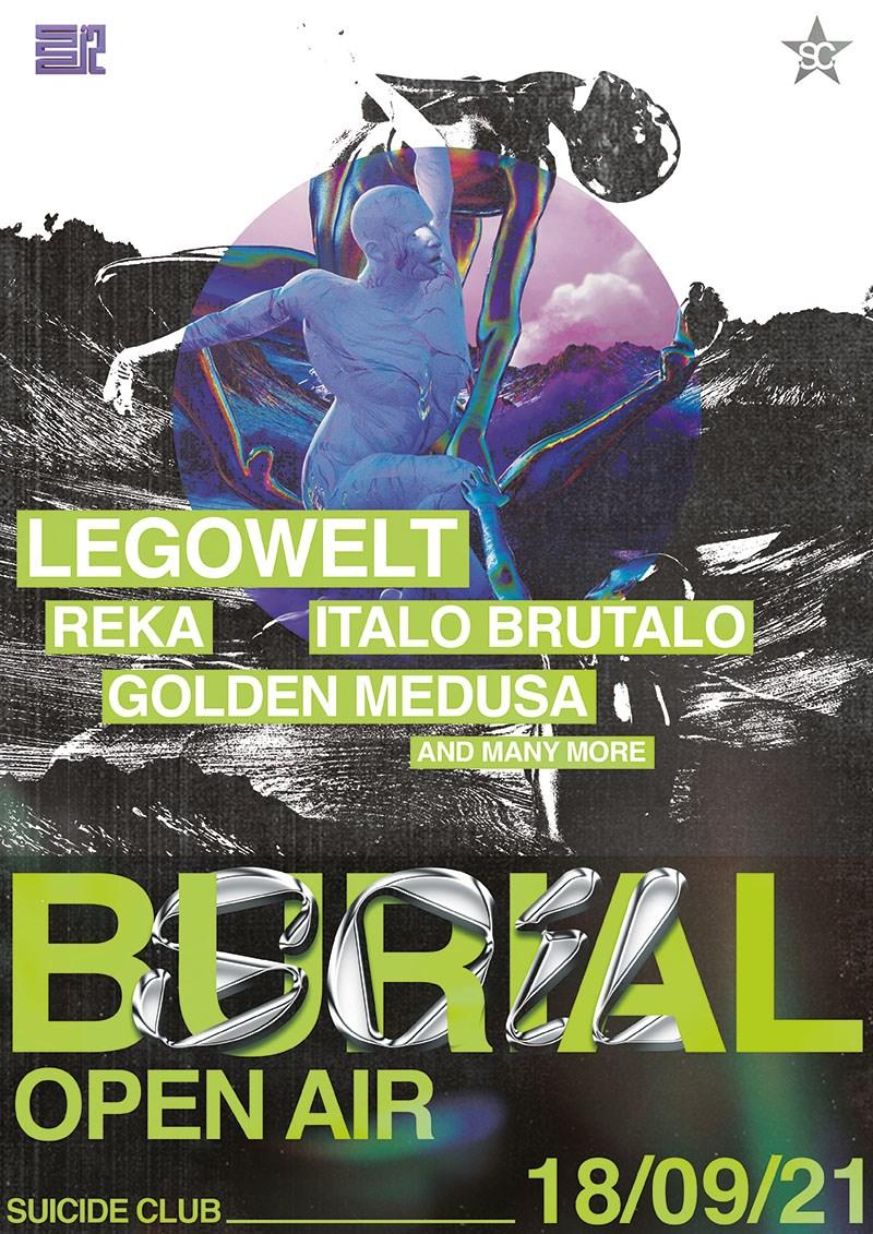 (Sold Out) Burial Soil - Legowelt, Italo Brutalo, Golden Medusa, Randstad - Night Time - Flyer front