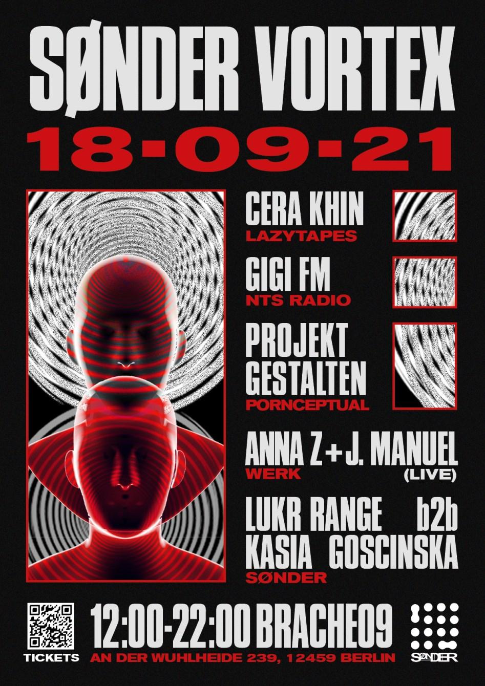 Sønder Vortex - Cera Khin, Gigi FM, Projekt Gestalten, Anna Z & J.Manuel - Flyer front