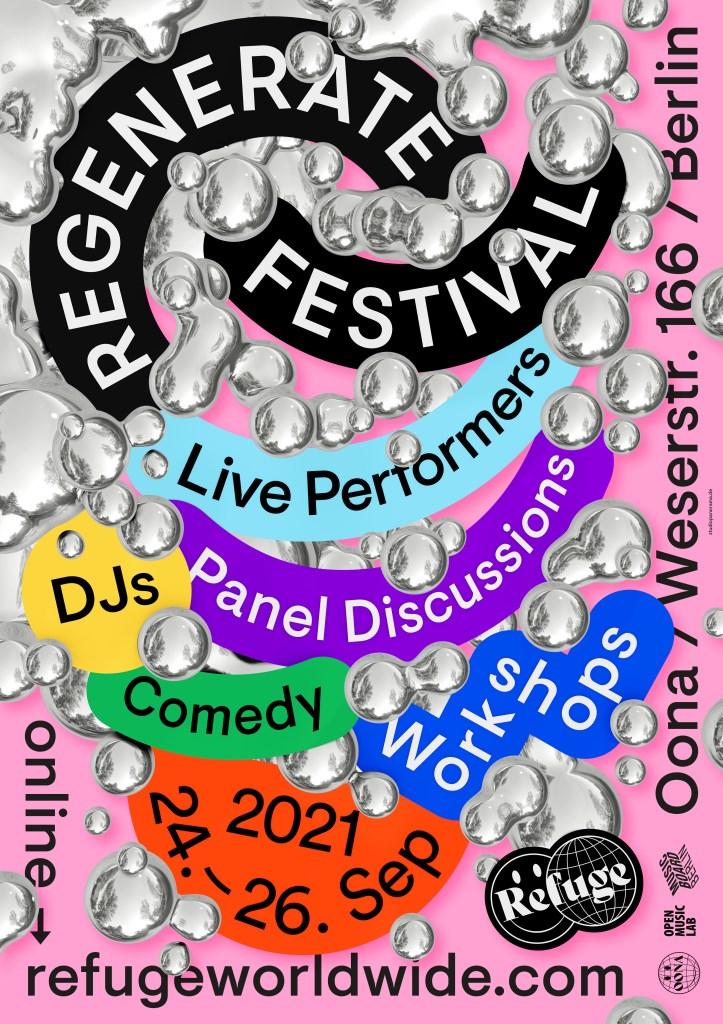 Refuge Worldwide presents Regenerate Festival - Flyer front
