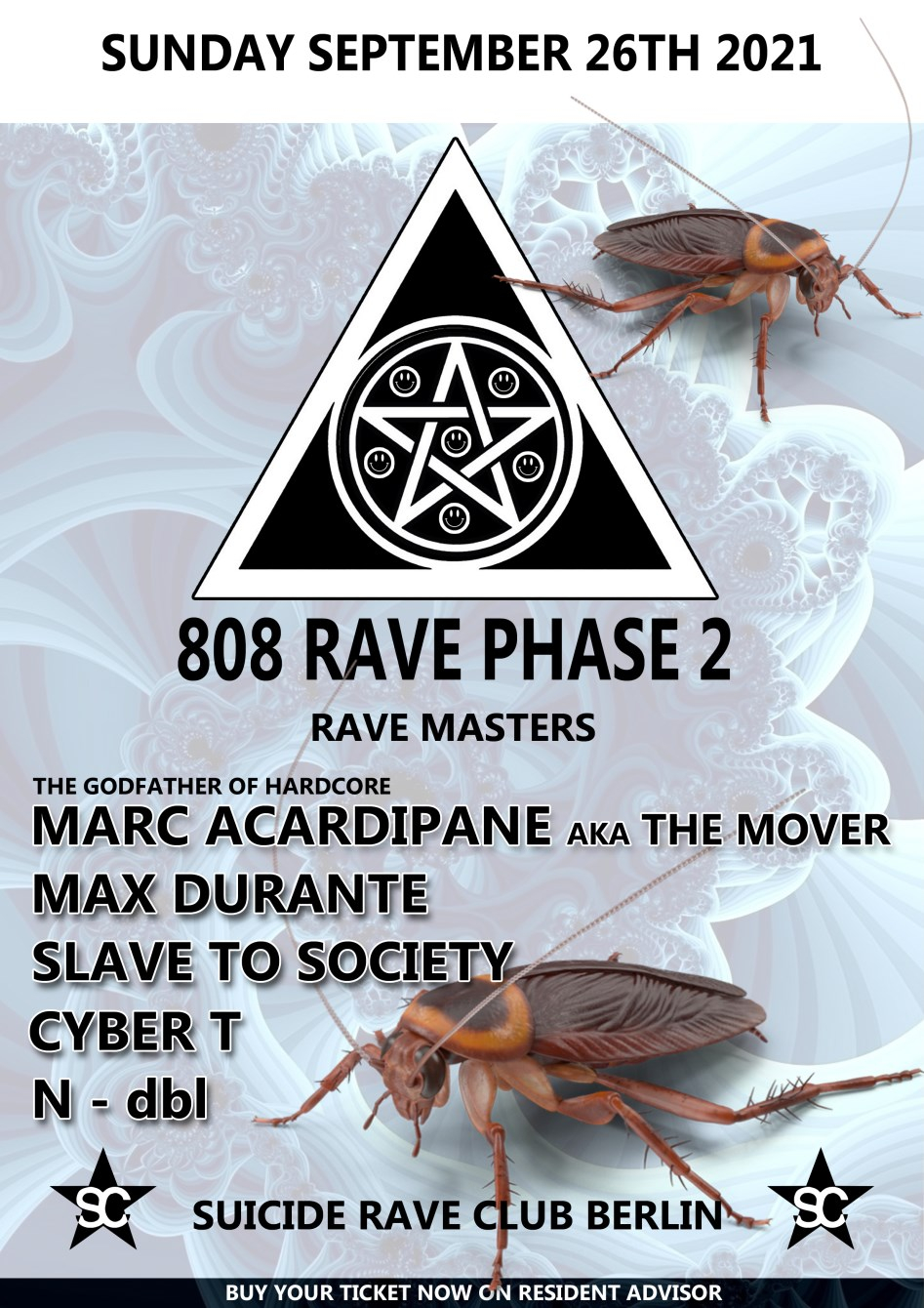 808 Rave Phase 2 with Marc Acardipane aka The Mover, Max Durante, Slave to Society and More - Flyer front