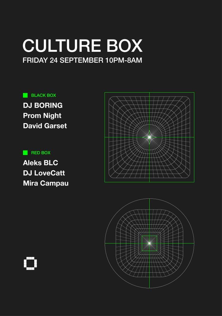 DJ Boring / Prom Night / David Garset / Aleks BLC / DJ Lovecatt / Mira Campau - Flyer front