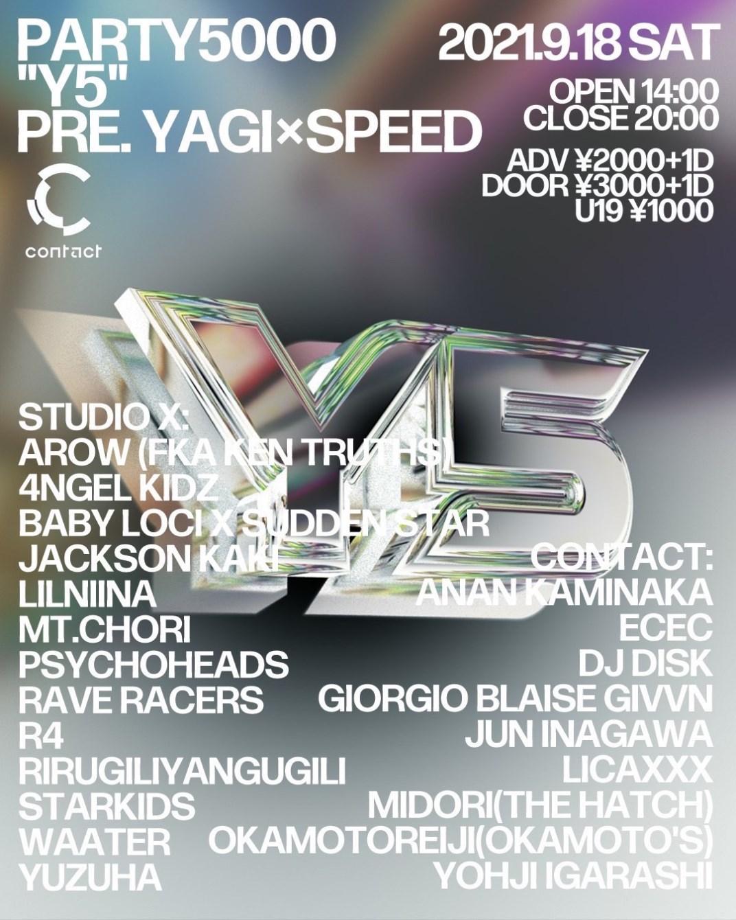 Y5 -Party5000 PRE. Yagi × Speed- - Flyer front