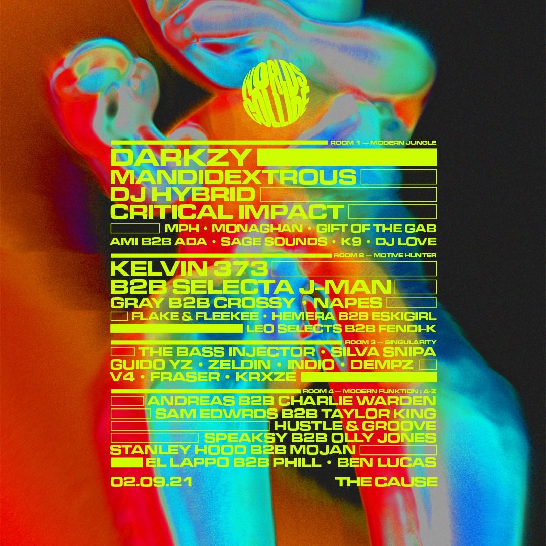 Worlds Collide - Darkzy, Mandidextrous, MPH, Bornonroad DJs, Critical Impact, DJ Hybrid & More - Flyer front