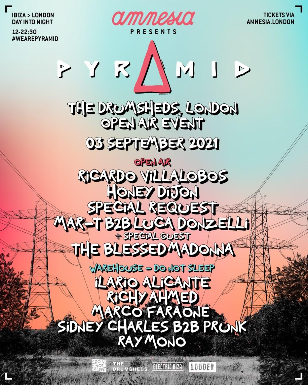 [CANCELLED] Amnesia presents Pyramid, The Drumsheds London - Ricardo Villalobos, Honey Dijon  - Flyer front