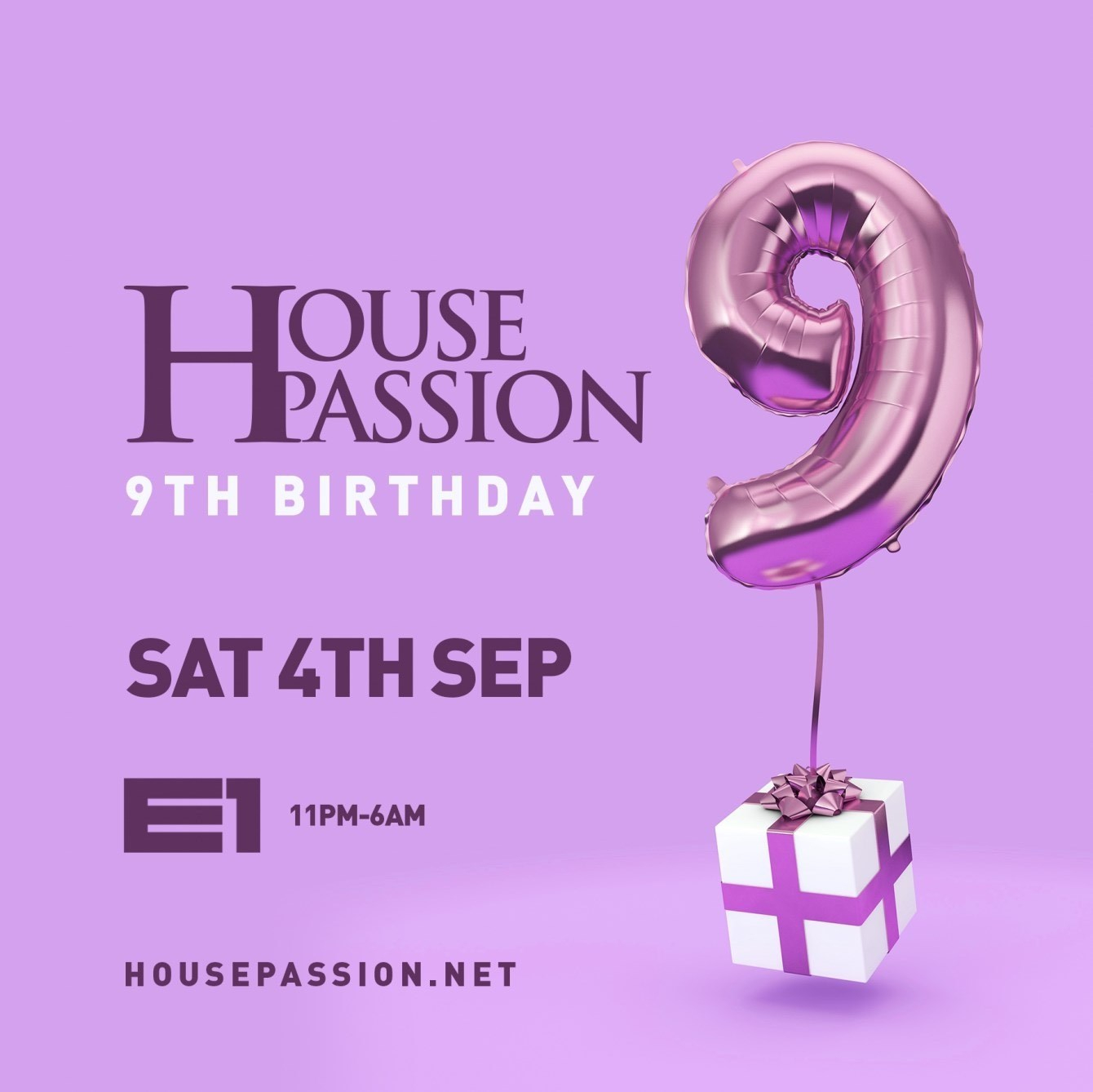 House Passion 9th Birthday - Flyer front