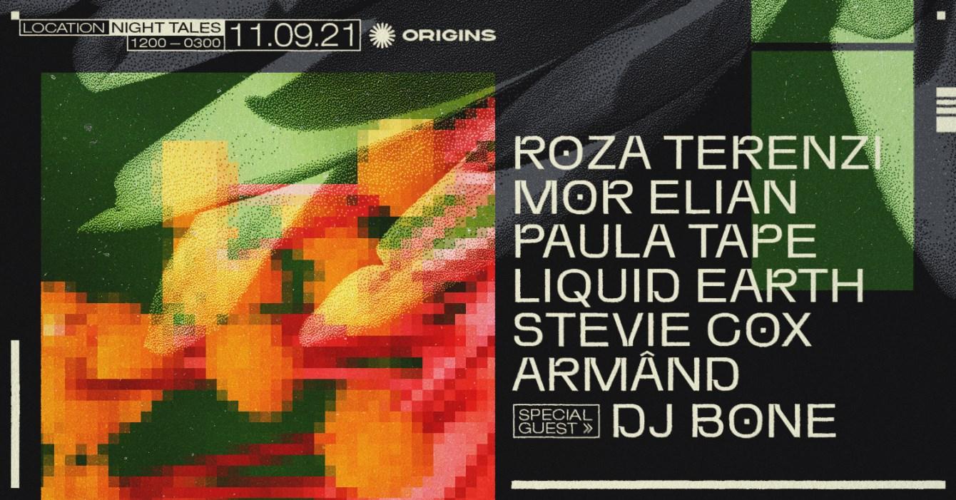 Origins: DJ Bone, Roza Terenzi, Mor Elian, Paula Tape & Stevie Cox - Flyer front