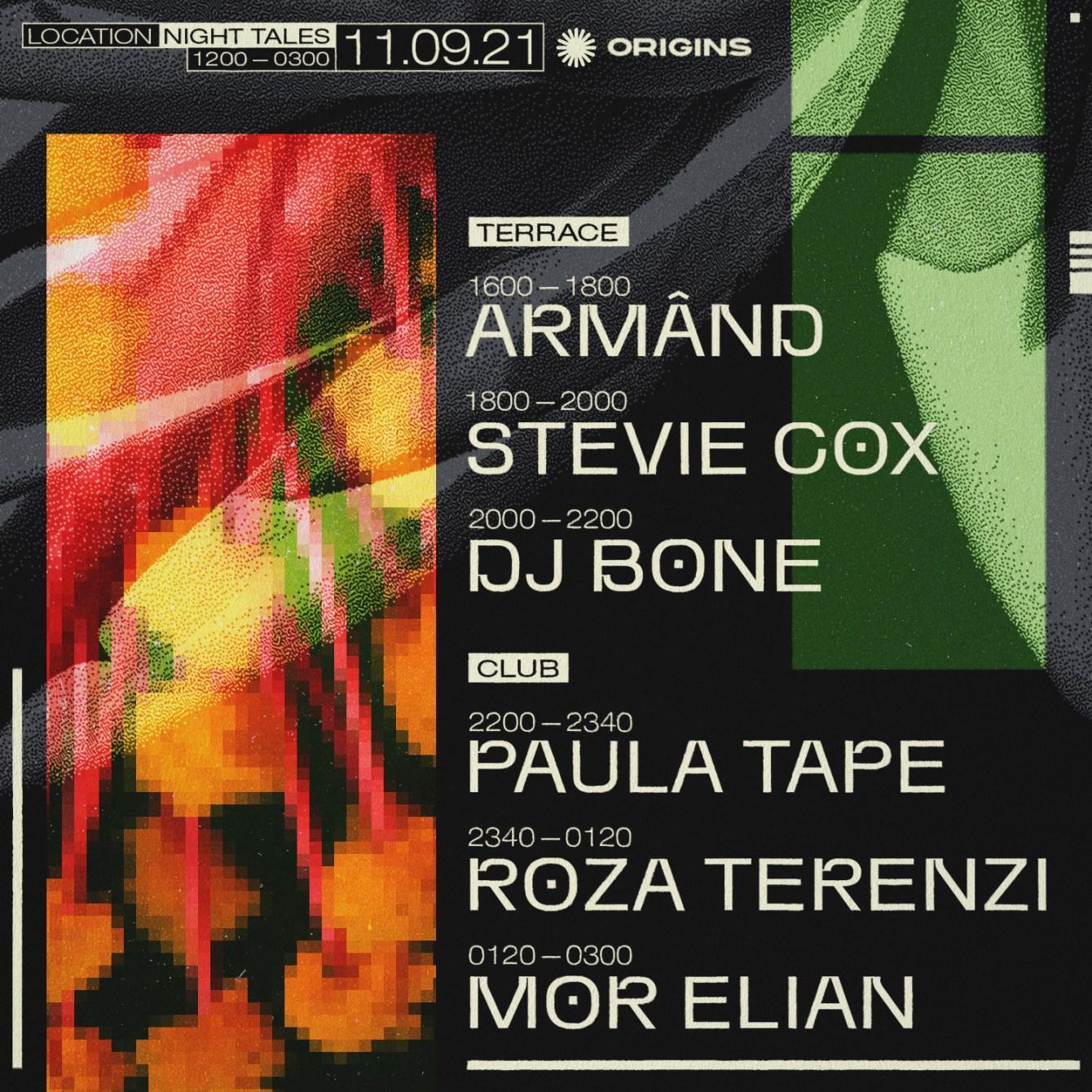 Origins: DJ Bone, Roza Terenzi, Mor Elian, Paula Tape & Stevie Cox - Flyer back