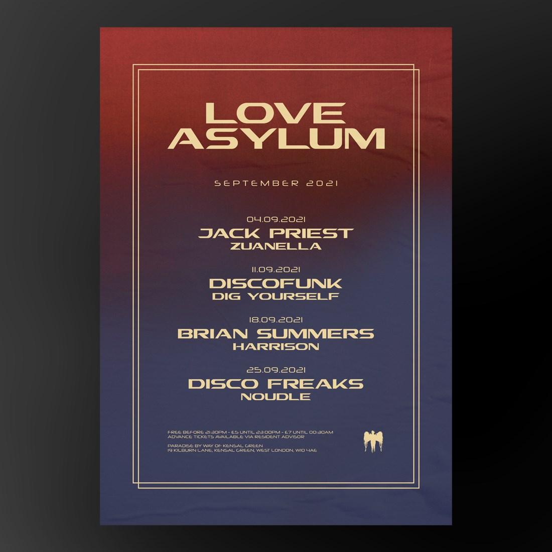 Love Asylum with Discofunk - Flyer back