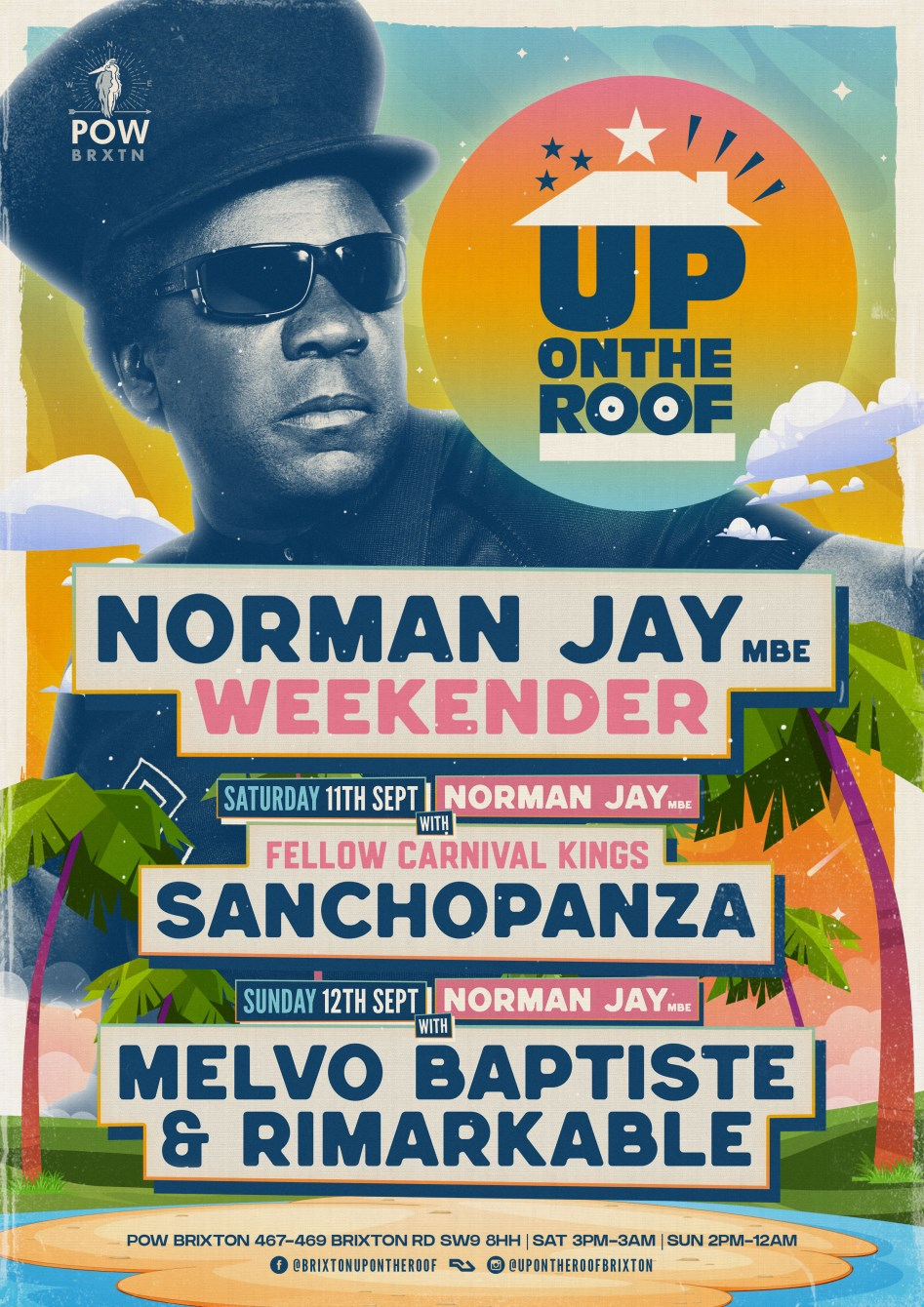 Norman Jay, Melvo Baptiste & Rimarkable...Up On The Roof - Flyer front