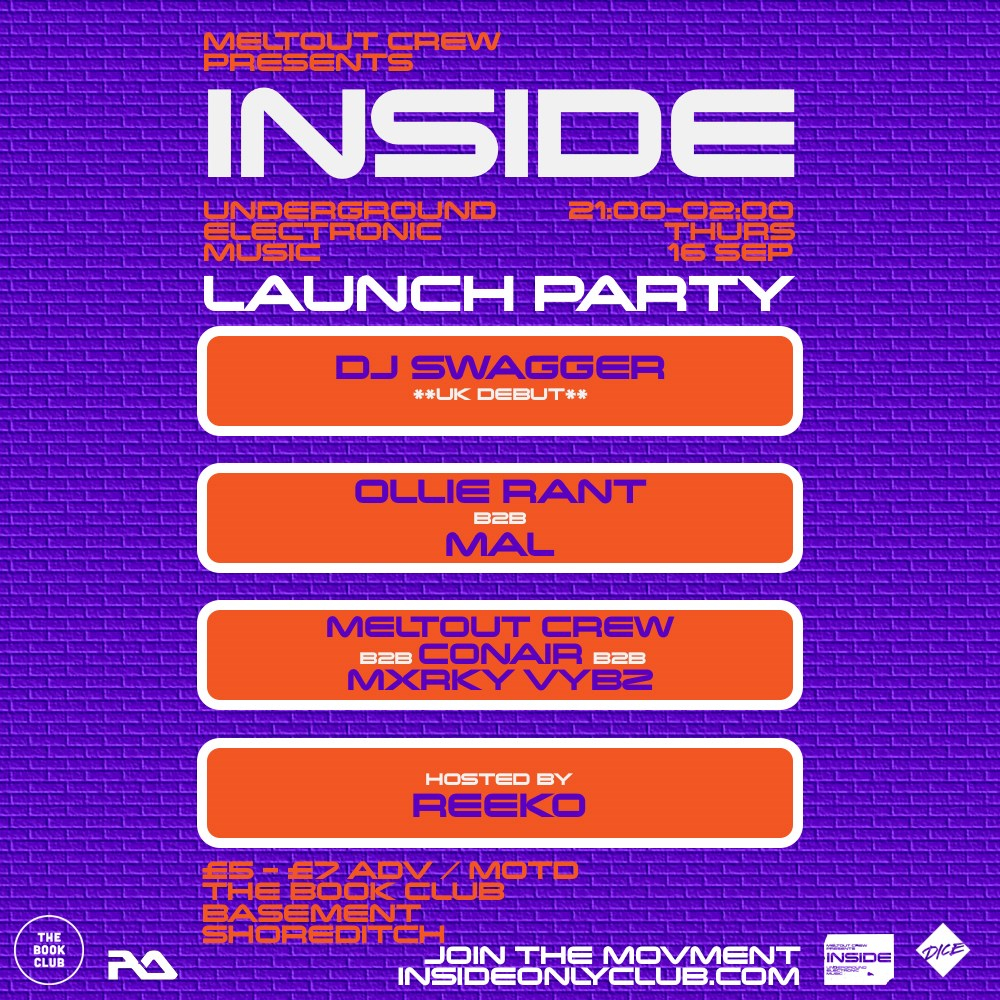 Inside - Underground Electronic Music - Launch Party - Flyer front