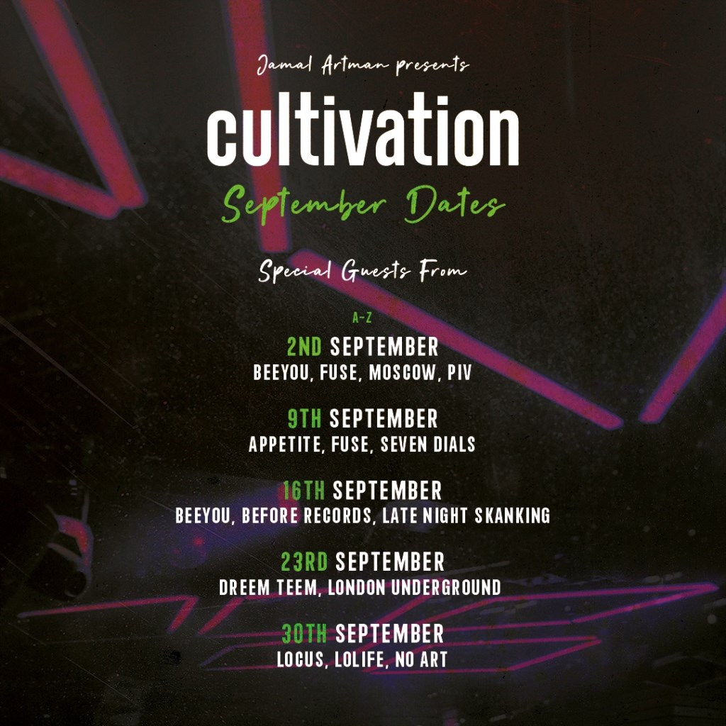 [CANCELLED] Jamal Artman presents - Cultivation with Secret Guest (Beeyou, Before, Late Night Skanking) - Flyer front