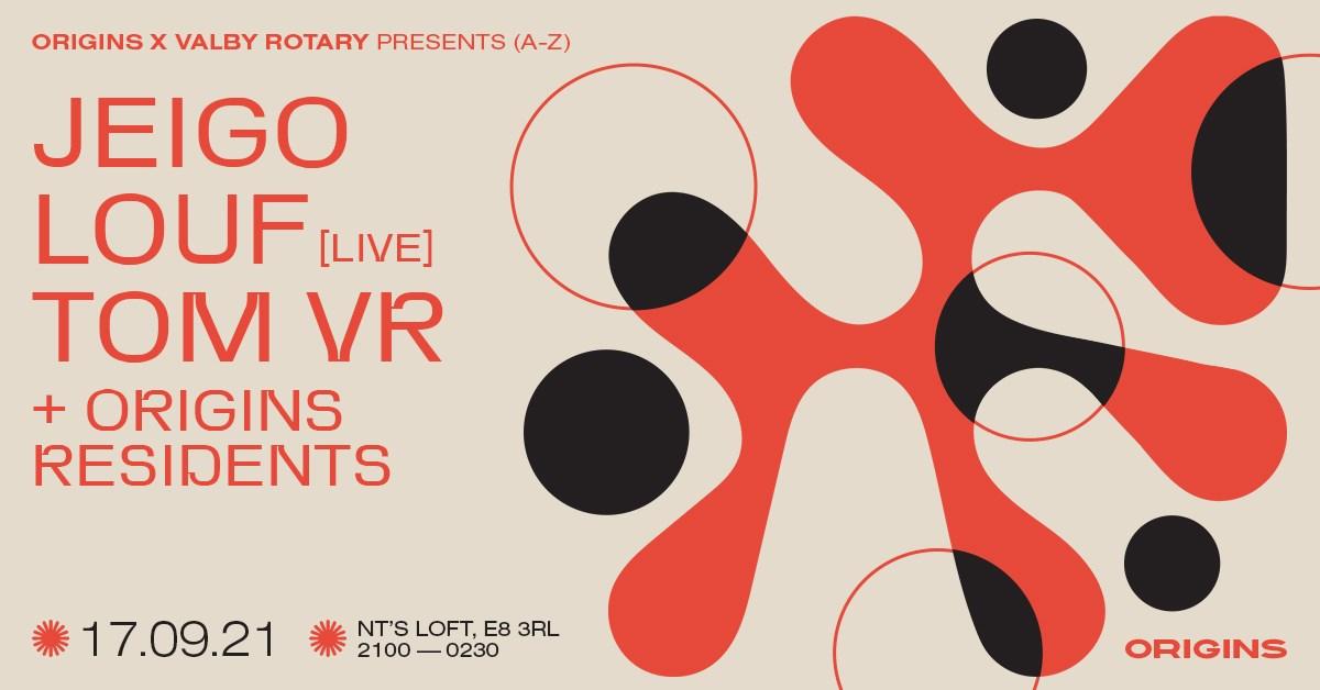 Origins x Valby Rotary: Tom VR, Jeigo, Louf (Live) - Flyer front