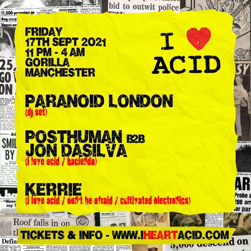 I Love Acid presents Paranoid London - Flyer back