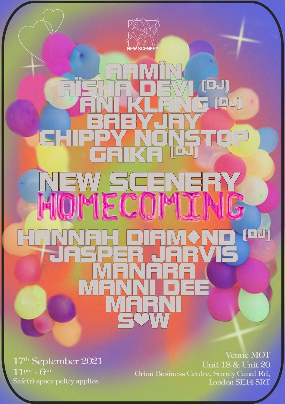 [POSTPONED] New Scenery Homecoming: Hannah Diamond, Aisha Devi, GAIKA - Flyer front