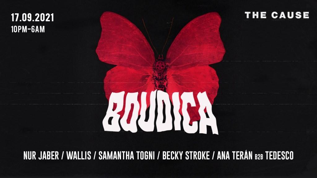 Boudica: Nur Jaber, Wallis, Samantha Togni, Becky Stroke, Ana Terán B2B Tedesco - Flyer front