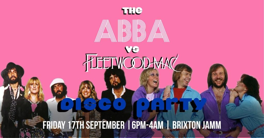 The Abba vs Fleetwood Mac Disco Party - Flyer front