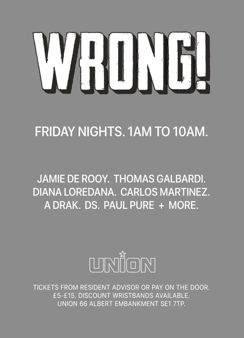 Wrong! Techno Afterhours - Flyer back
