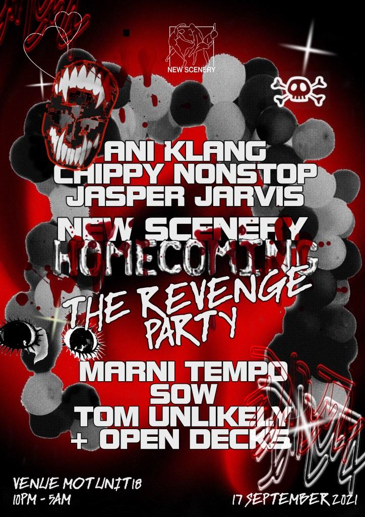 New Scenery Revenge: Chippy Nonstop, Ani Klang, Tom Unlikely - Flyer front