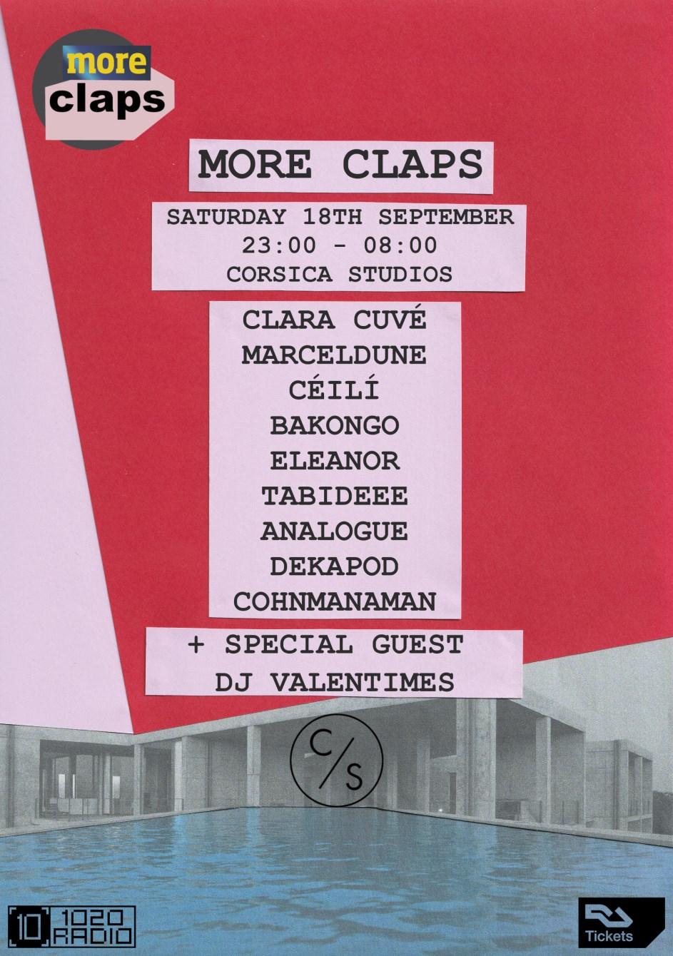 More Claps: Clara Cuvé, MarcelDune, DJ Valentimes, Céilí, Bakongo, ELEANOR, Tabideee - Flyer front