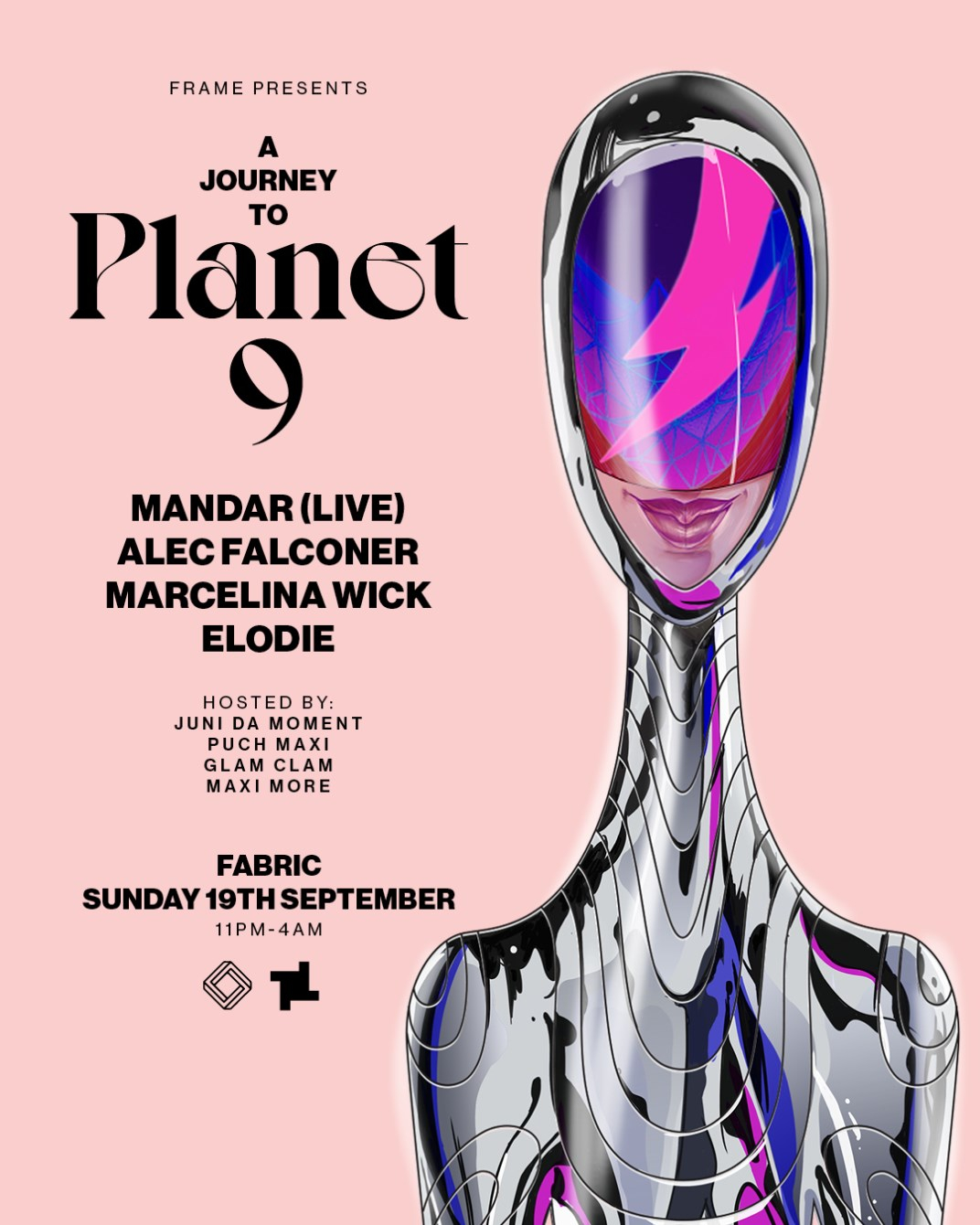 fabric Sundays: A Journey to Planet 9 with Mandar, Alec Falconer & More - Flyer front