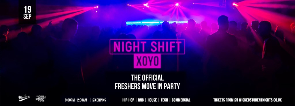 The Official Freshers Move IN Party at Xoyo// Discounted Drinks - Flyer back