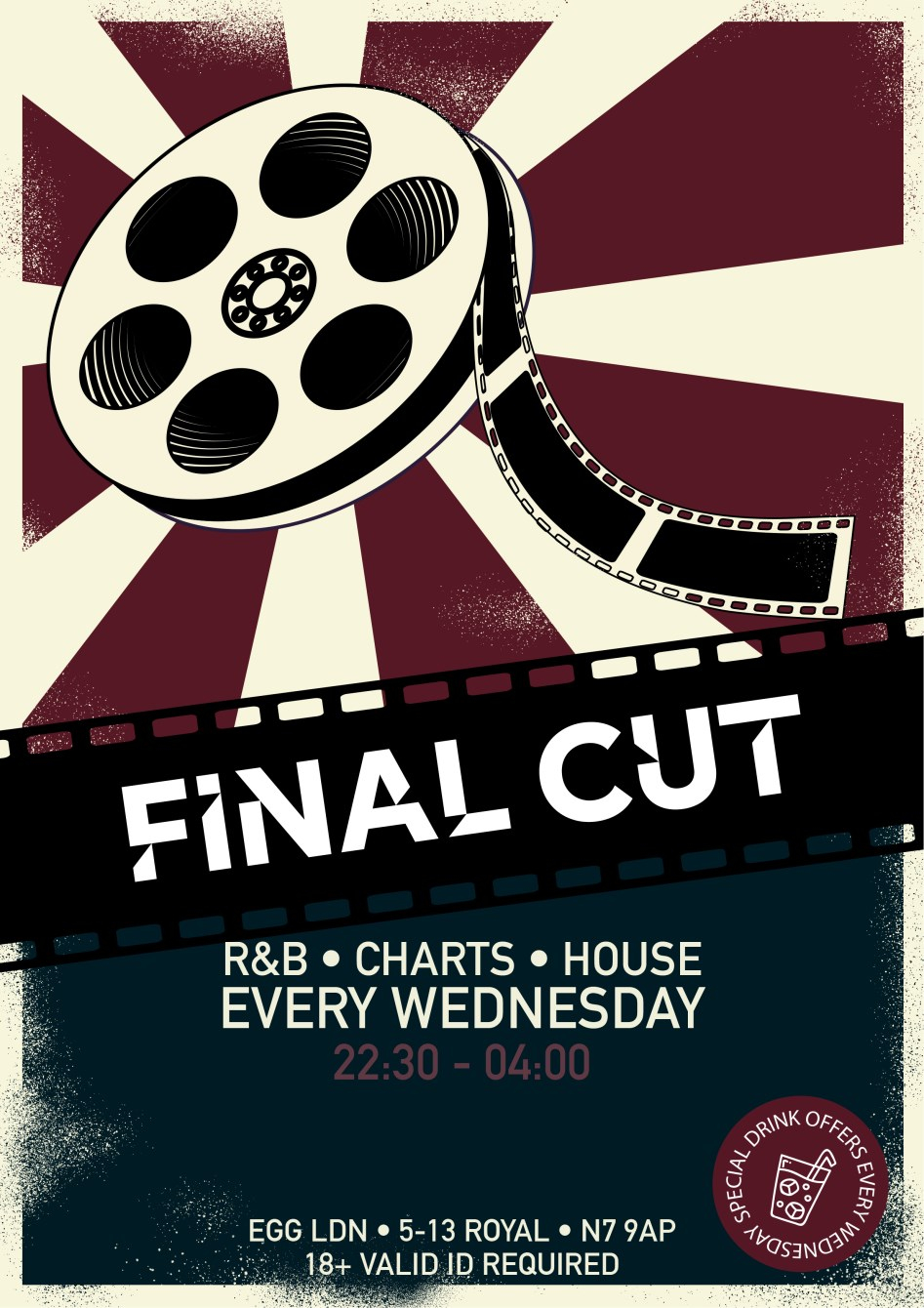 Final CUT: R&B, Charts, House and More - Flyer front