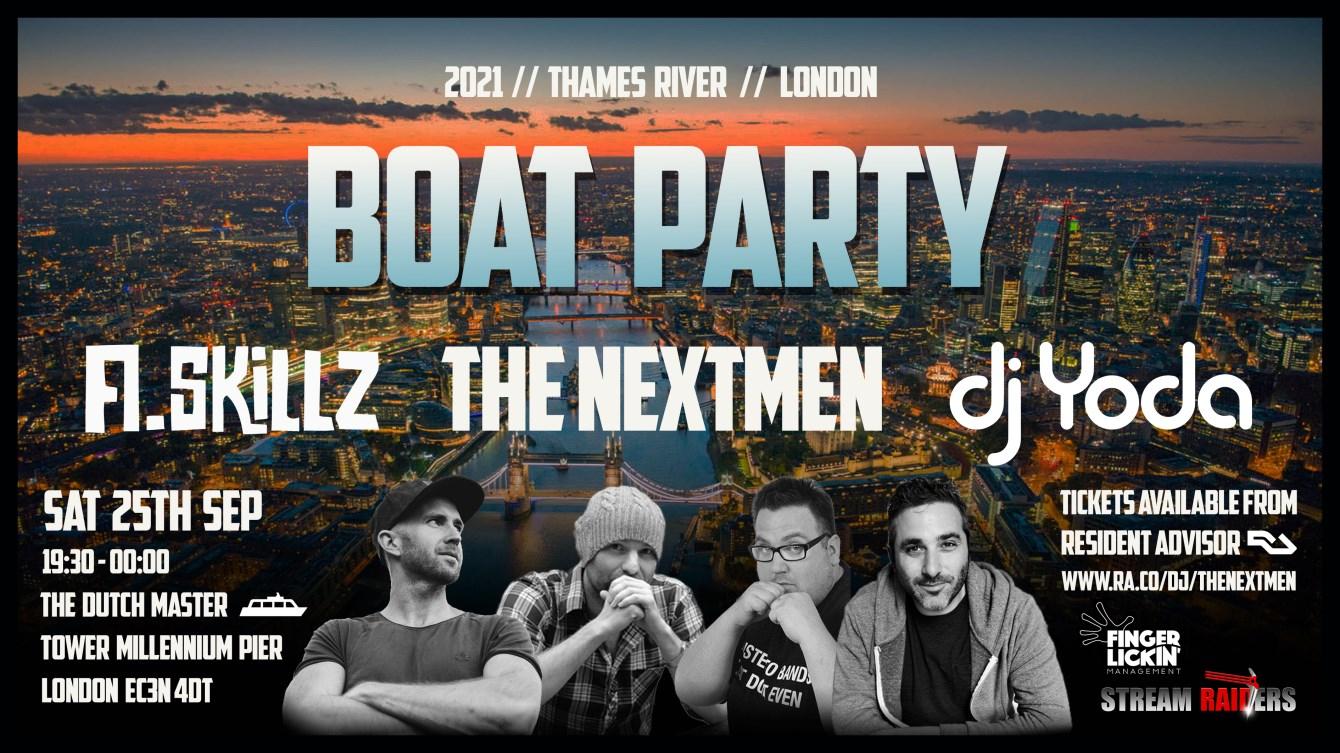 The Nextmen, A.Skillz & DJ Yoda Boat Party - Flyer front