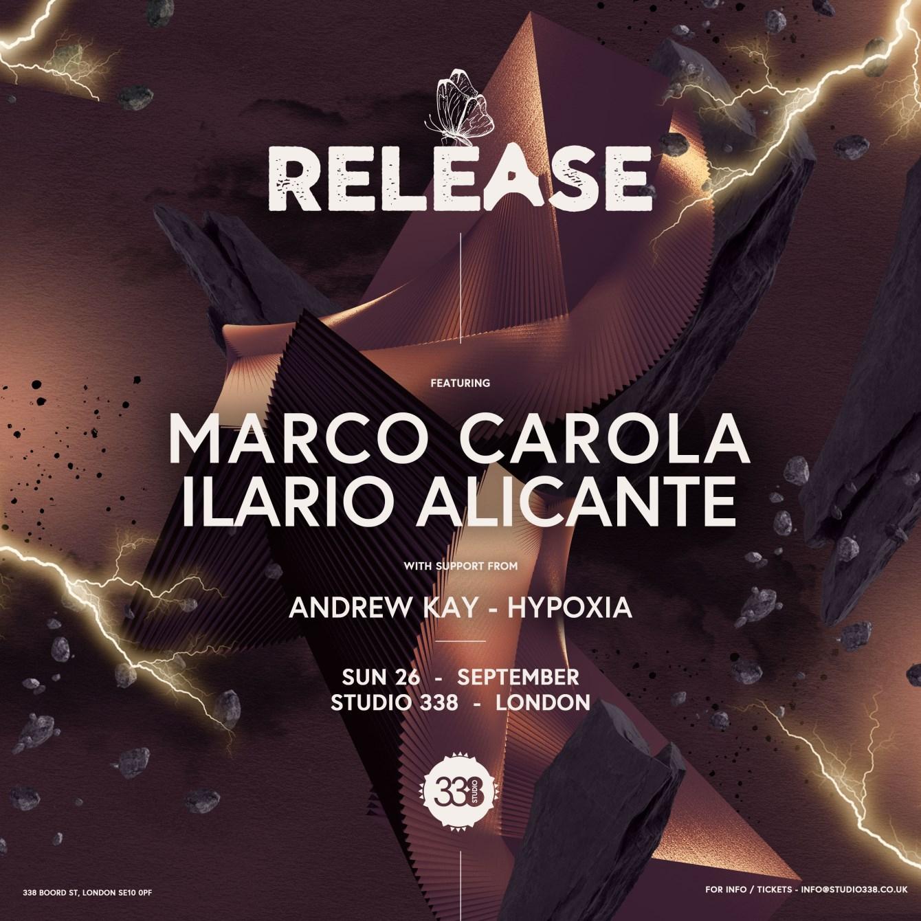 Release with Marco Carola + Ilario Alicante - Flyer front