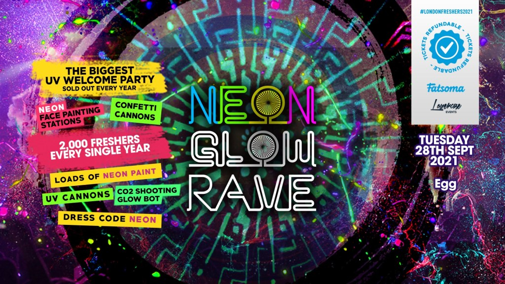 The 2021 Freshers Neon Glow Rave AT Studio 338 - Flyer front