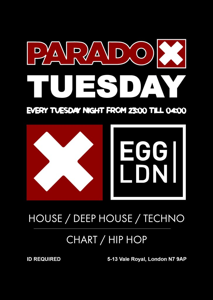 Paradox Tuesday at Egg London - Flyer front