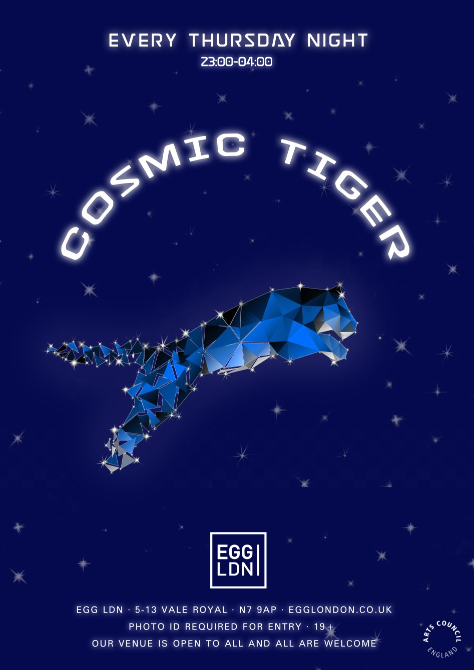 Cosmic Tiger: Thursday Party - all Night Long - Flyer front