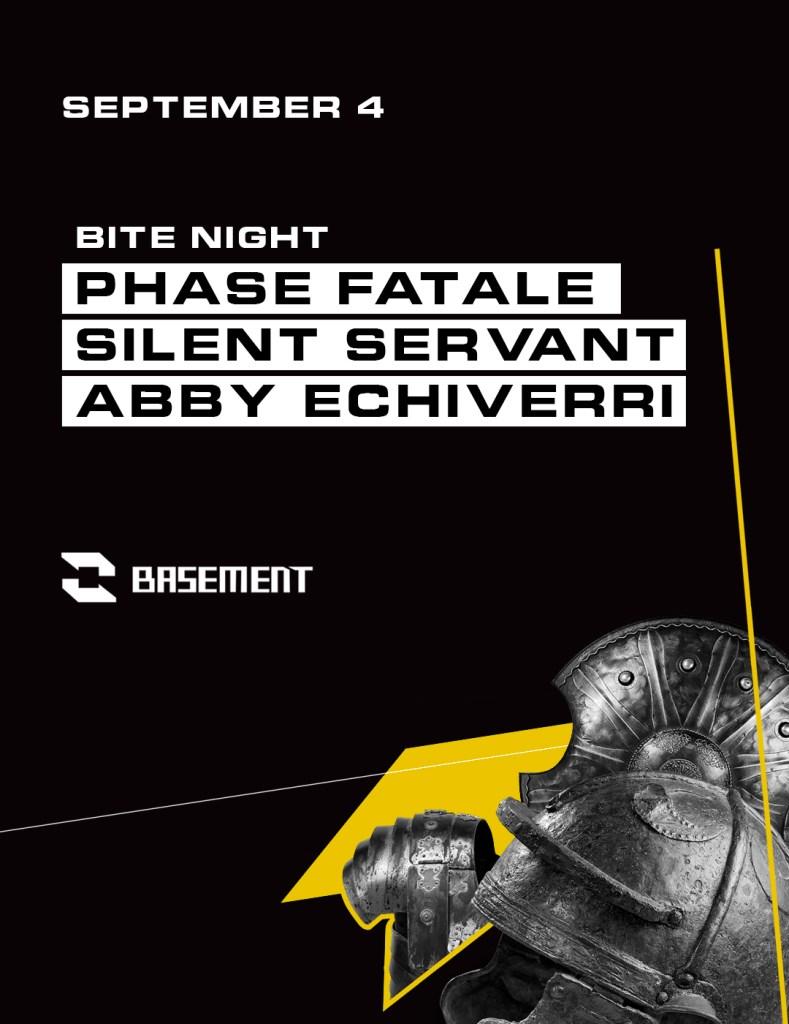 Bite Night: Phase Fatale / Silent Servant / Abby Echiverri - Flyer front
