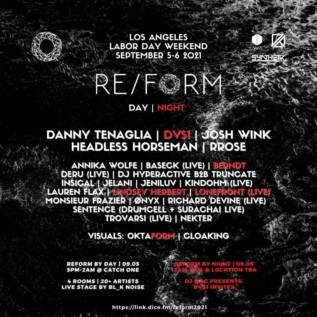 Reform 2021: Danny Tenaglia, DVS1, Josh Wink, Headless Horseman, Lauren Flax, & More - Flyer front