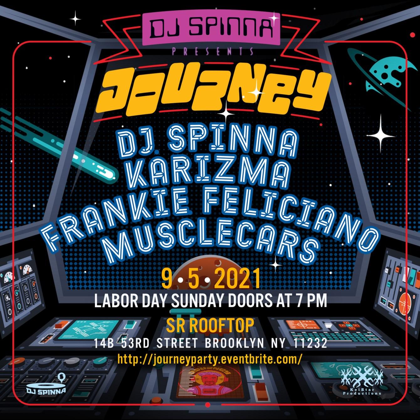 Journey with DJ Spinna, Karizma, Frankie Feliciano, Musclecars - Flyer front