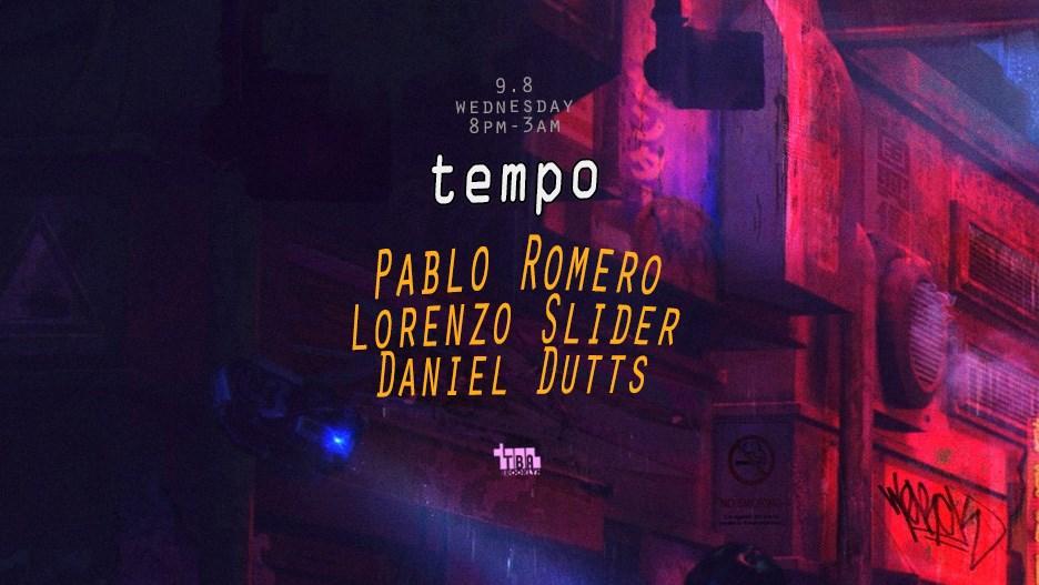 Tempo: Pablo Romero, Lorenzo Slider, Daniel Dutts - Flyer front