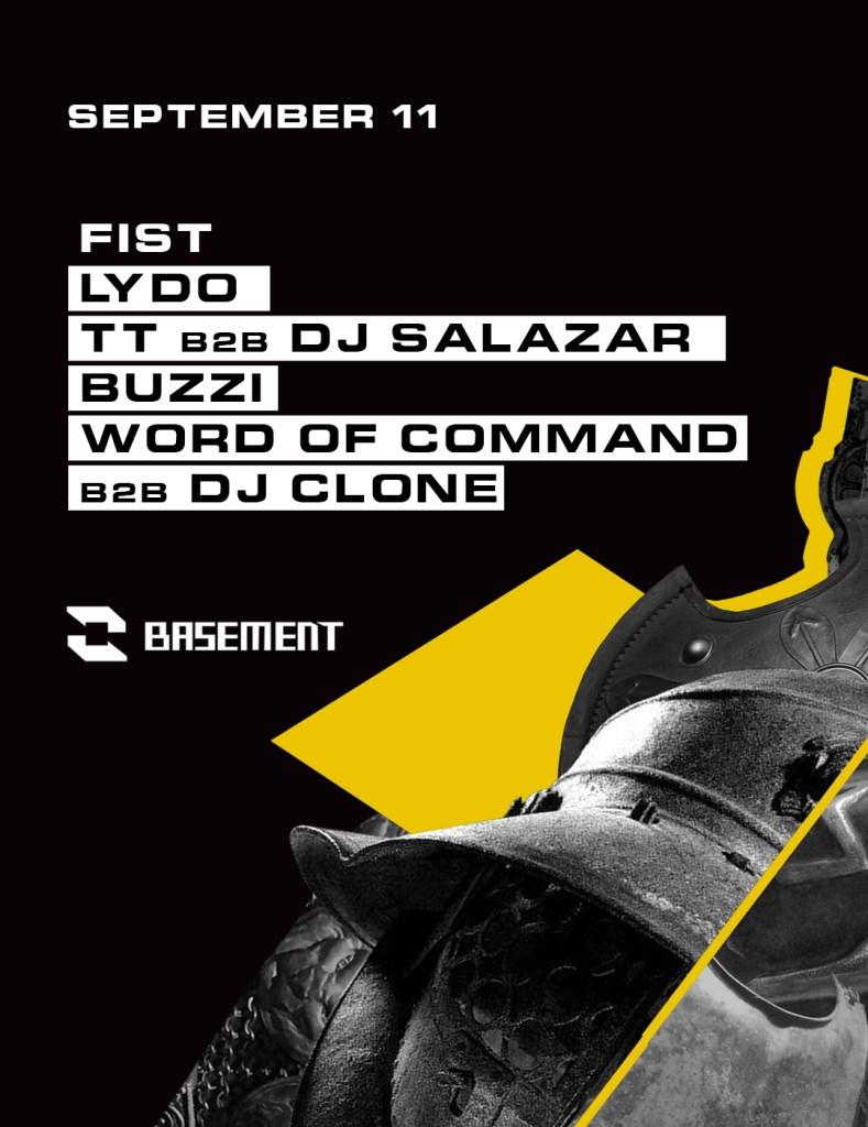 Fist: Lydo / TT b2b DJ Salazar / Buzzi / Word of Command b2b DJ Clone - Flyer front