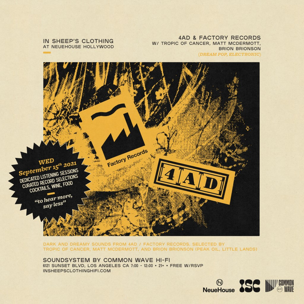 4AD & Factory Records Night - Flyer front