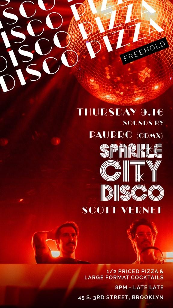 Disco Pizza with Paurro, Sparkle City Disco, Scott Vernet - Flyer front
