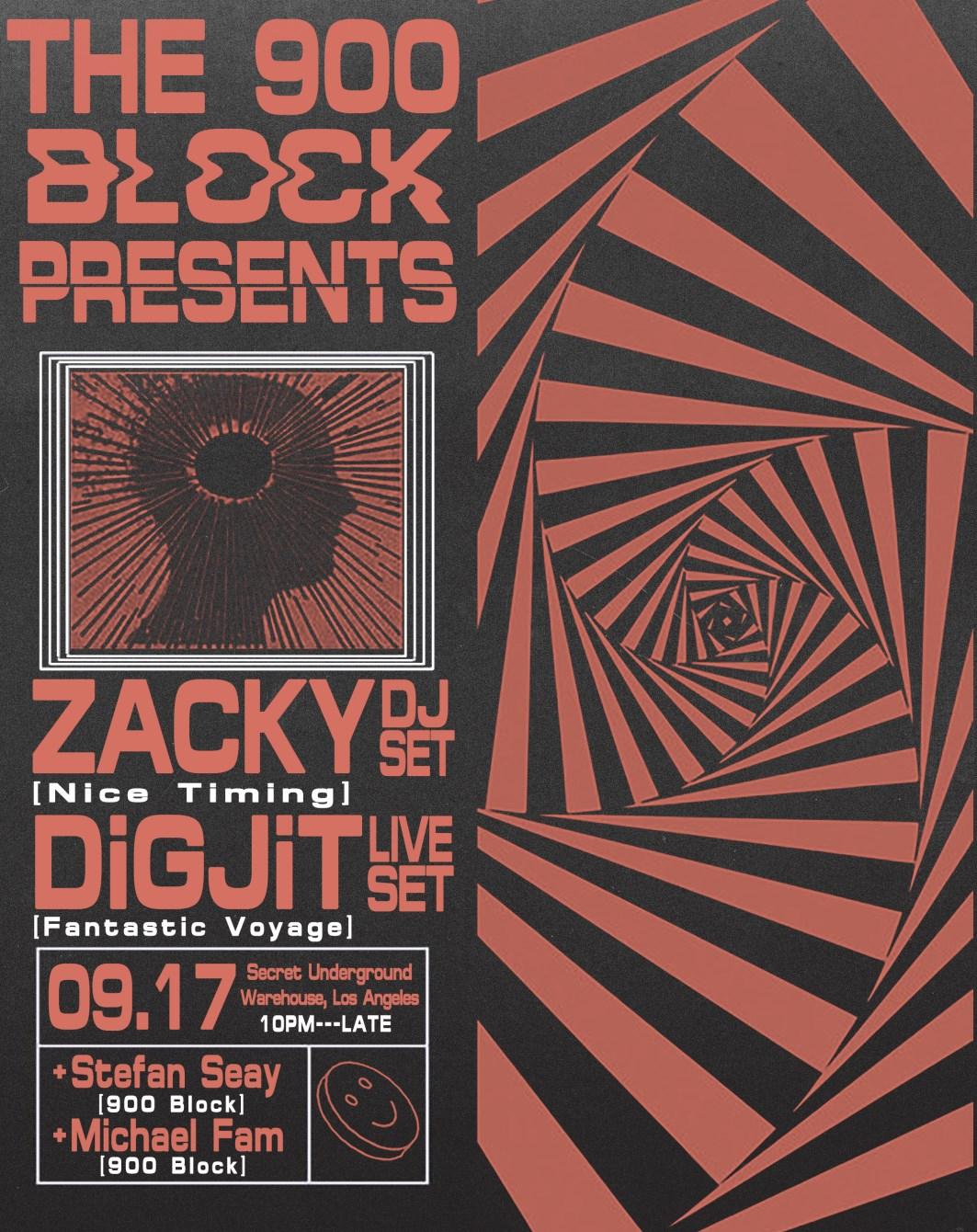 The 900 Block presents: Zacky, Digjit(Live), Stefan Seay, Michael Fam - Flyer front
