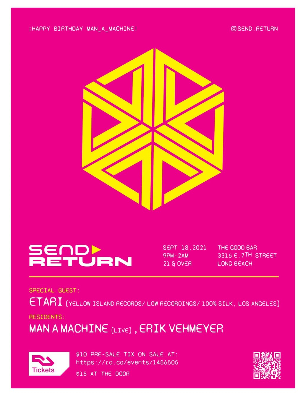 Send»return with Etari (Yellow Island Records/Low/100% Silk) & Residents - Flyer front