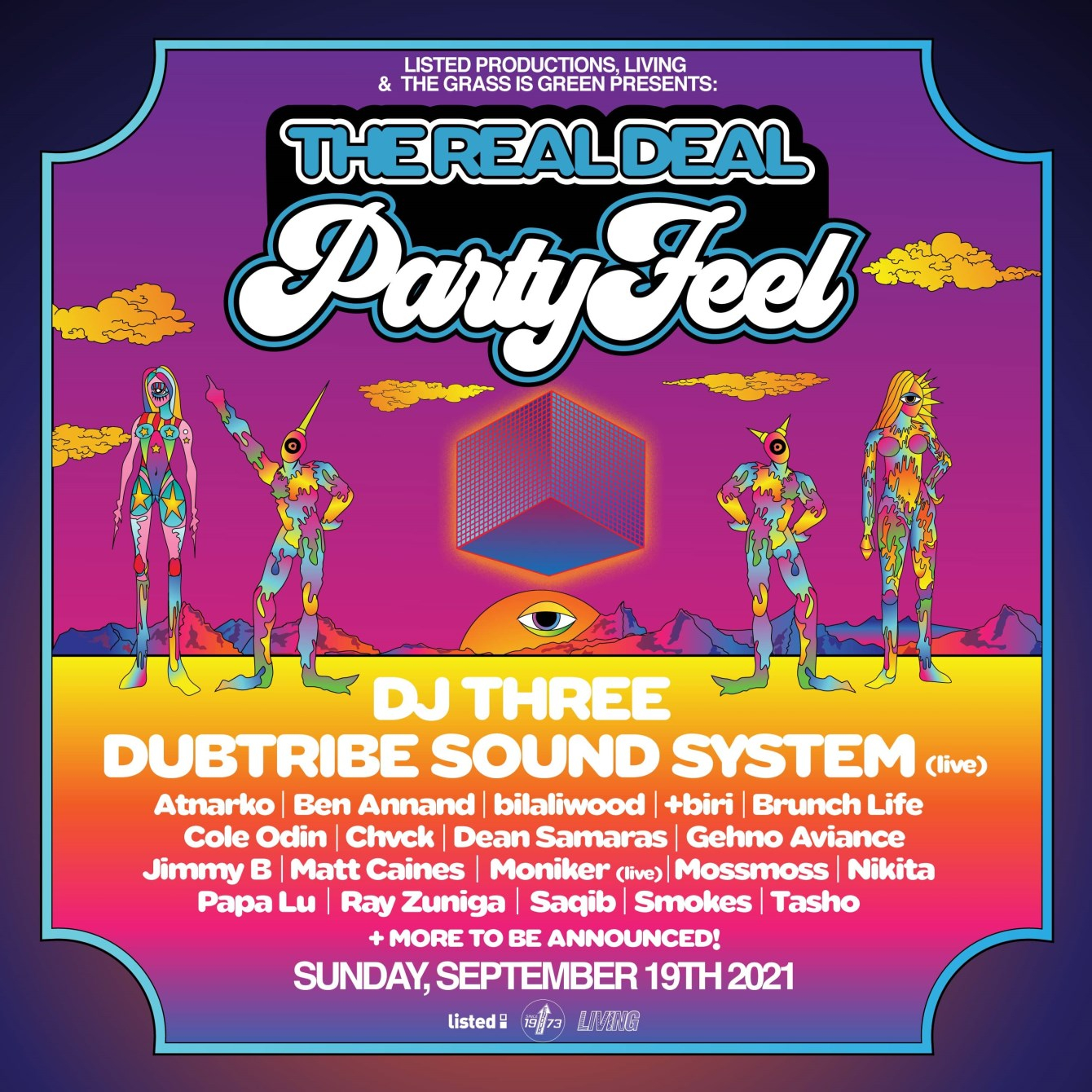 The Real Deal Party Feel feat. Dubtribe Sound System, DJ Three & More (16-Hour Marathon) - Flyer front