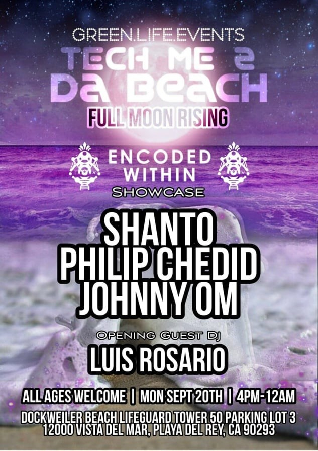 Full Moon Beach Party Feat. Encoded Within DJs - Flyer front