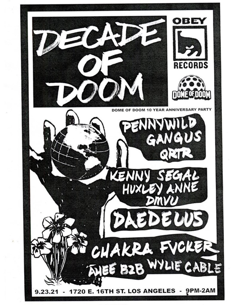 Dome of Doom Records 10yr Anniversary Party Feat. Daedelus - Flyer front