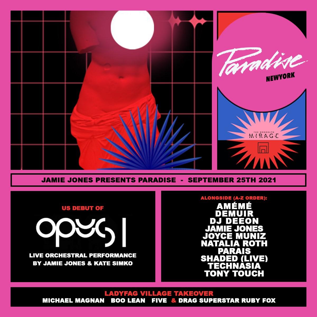 Jamie Jones presents Paradise New York - The Brooklyn Mirage - Flyer front