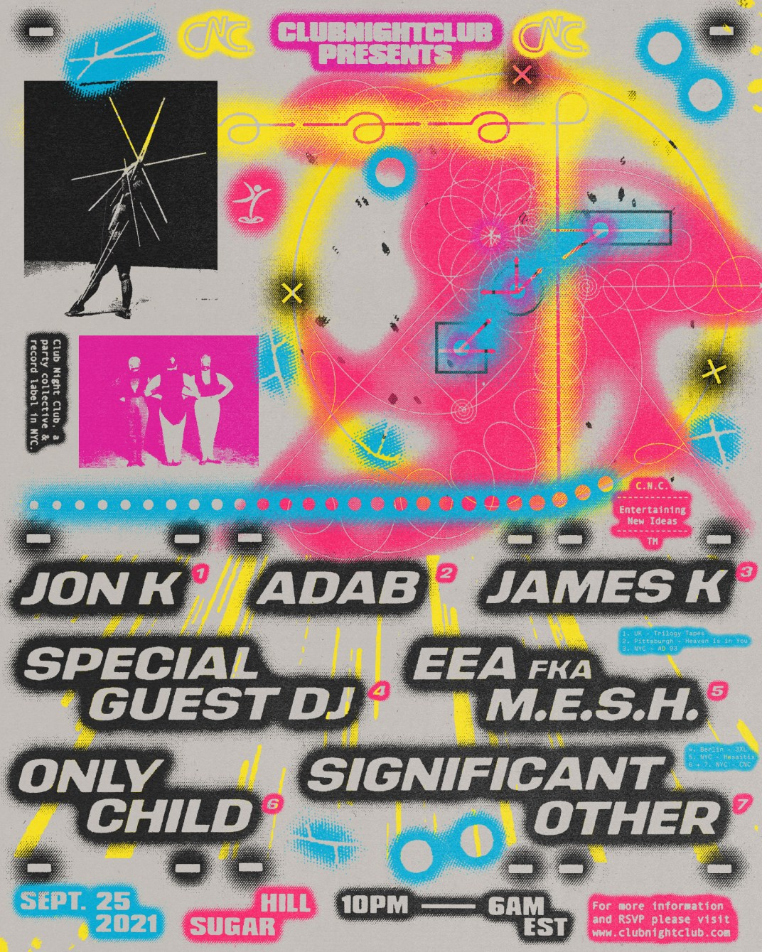 Club Night Club: Jon K, EEA (M.E.S.H.), Adab, James K - Flyer front