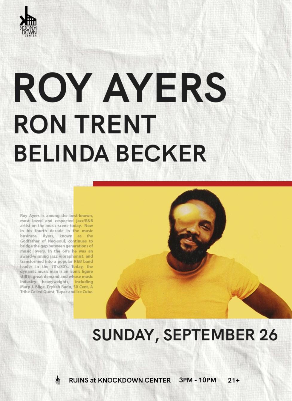 Roy Ayers (Live), Ron Trent, Belinda Becker - Flyer front