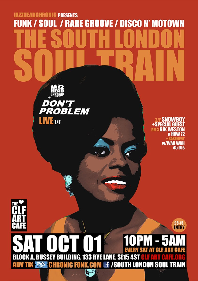 [RESCHEDULED] The South London Soul Train with Don't Problem Brass Band (Live) - More - Flyer front