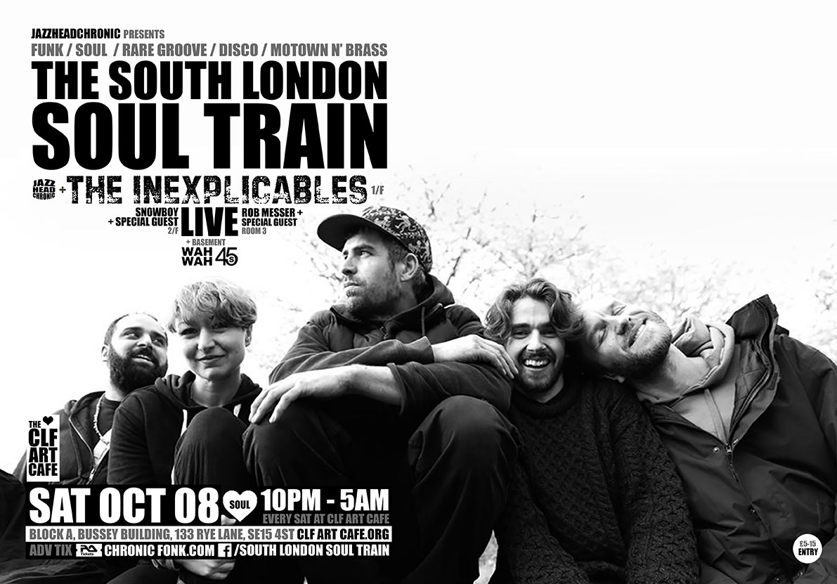 [RESCHEDULED] The South London Soul Train with The Inexplicables (Live) - More - Flyer back